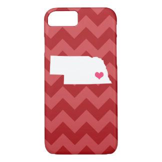 Personalized Modern Red Chevron Nebraska Heart iPhone 8/7 Case