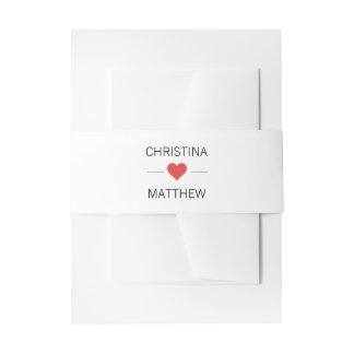 Personalized Modern Red HEART Black White Wedding Invitation Belly Band