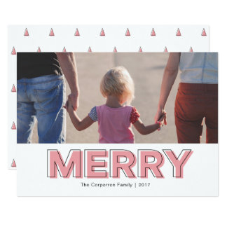 Personalized Modern Red Pink Merry Holiday Card