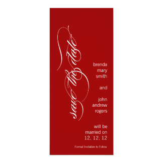Personalized Modern Save the Date Red and White 10 Cm X 24 Cm Invitation Card