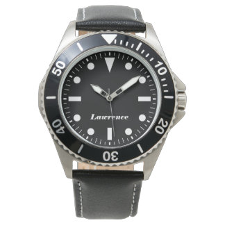 personalized modern stainless steel leather watch