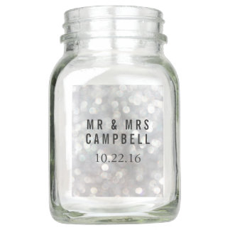Personalized Modern Wedding Guest Favor Mason Jar
