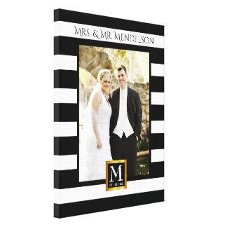 Personalized modern wedding photo frame canvas print