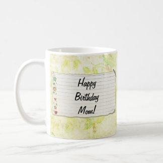 Personalized Mom birthday Flower Label Mugs