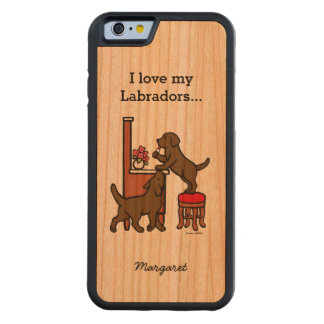 Personalized Mom's Chocolate Lab Duo Cherry iPhone 6 Bumper Case