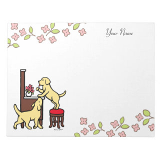 Personalized Mom's Yellow Lab Puppy Duo Memo Note Pad