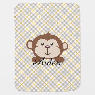 Personalized Monkey Baby Blanket