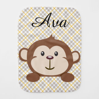 Personalized Monkey Burp Cloth
