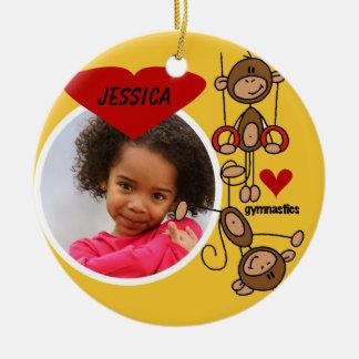 Personalized Monkey Gymnastics Photo Ornament