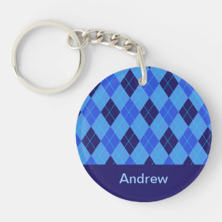 Personalized monogram A boys name blue argyle Double-Sided Round Acrylic Key Ring