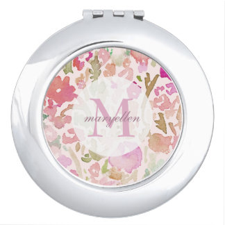 Personalized Monogram Abstract Floral Compact Makeup Mirrors