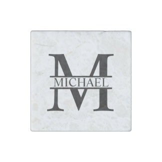 Personalized Monogram and Name Stone Magnet
