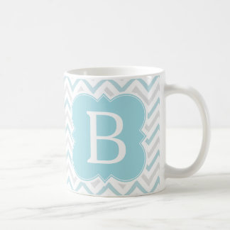 Personalized Monogram Aqua and Tan Chevron Coffee Mug