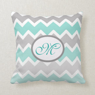Personalized Monogram Aqua Blue Gray Grey Chevron Cushion