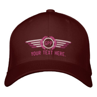 Personalized Monogram Aviation Laurels Pilot Wings Embroidered Cap