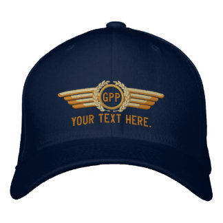 Personalized Monogram Aviation Laurels Pilot Wings Embroidered Hats