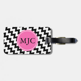 Personalized Monogram Black and White Zigzag Luggage Tag