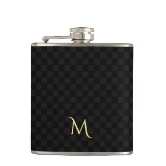 Personalized Monogram Black Check Pattern Flask