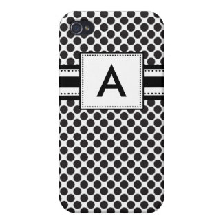 Personalized Monogram Black Polka Do iPhone 4/4S Cover
