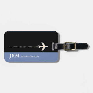 personalized monogram blue / airplane travel luggage tag