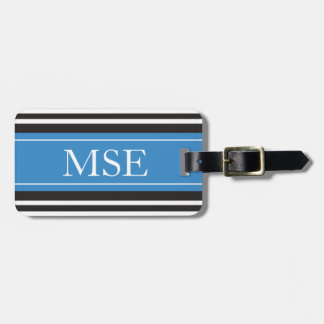 Personalized Monogram Blue Black Stripes Pattern Luggage Tag