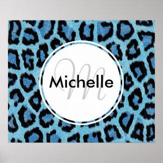 Personalized Monogram Blue Leopard Print Pattern