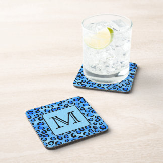 Personalized Monogram, Blue Leopard Print Pattern. Coasters
