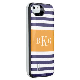 Personalized Monogram Blue Orange Stripes Pattern iPhone SE/5/5s Battery Case