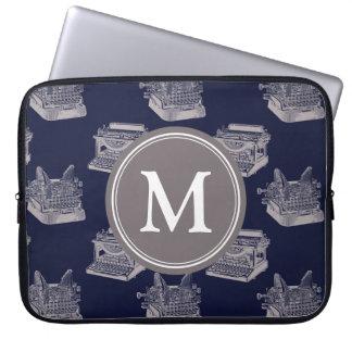Personalized Monogram Blue Vintage Typewriter Laptop Sleeve