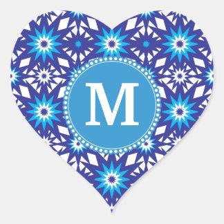 Personalized Monogram Bold Blue Teal Star Pattern Heart Sticker