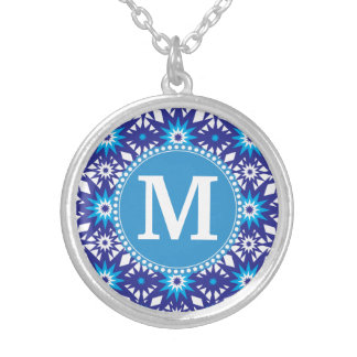 Personalized Monogram Bold Blue Teal Star Pattern Necklace