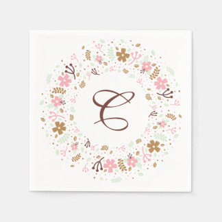 Personalized Monogram Bridal Shower Floral Wreath Disposable Serviettes