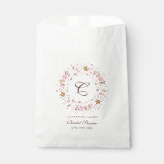 Personalized Monogram Bridal Shower Floral Wreath Favour Bags