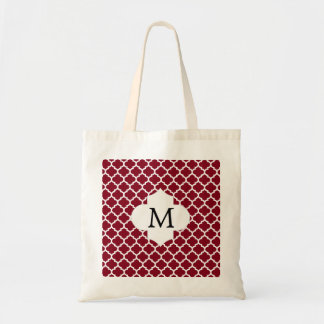 Personalized Monogram Burgundy Quatrefoil Pattern