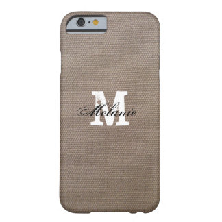 Personalized monogram burlap iPhone 6 case