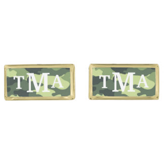 Personalized Monogram Camouflage Print Cuff Links Gold Finish Cuff Links