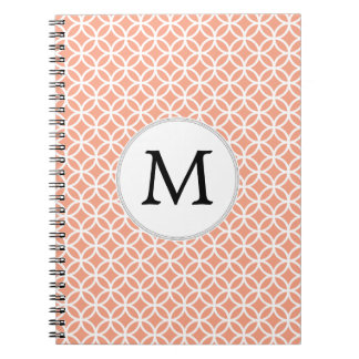 Personalized Monogram Coral rings pattern Spiral Notebooks
