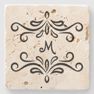 Personalized monogram custom flourish stone coaster