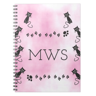 Personalized Monogram Cute Black Cat Illustration Notebook