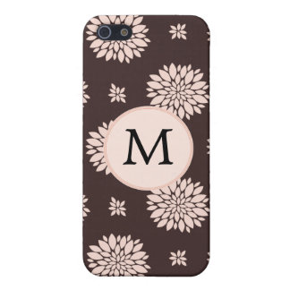 Personalized Monogram Ebony Coral Floral pattern iPhone 5 Case