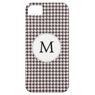 Personalized Monogram Ebony Houndstooth Pattern Barely There iPhone 5 Case