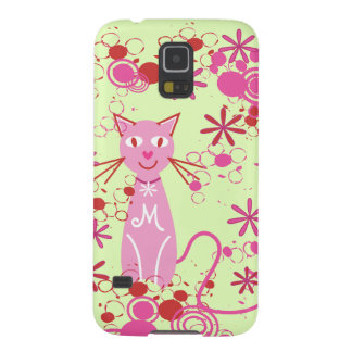 Personalized Monogram Fancy Pink Cat Galaxy S5 Covers