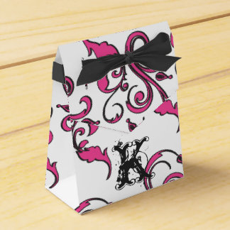 Personalized Monogram Favor Box - Pink Black Funky