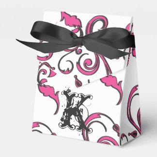 Personalized Monogram Favor Box - Pink Black Funky Wedding Favour Boxes