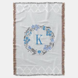 Personalized Monogram Floral Wreath Grey Blue Throw Blanket