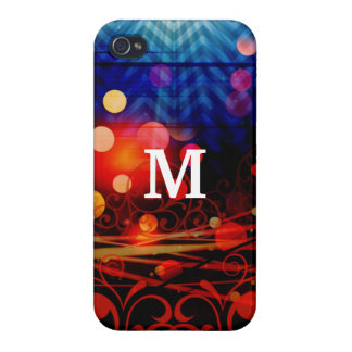 Personalized Monogram Funky Light Rays Abstract iPhone 4/4S Cases