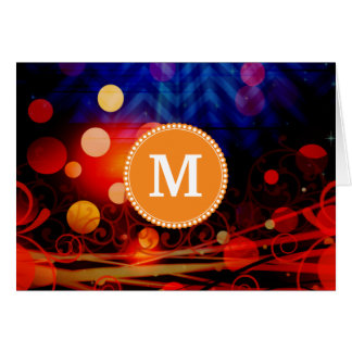 Personalized Monogram Funky Light Rays Abstract Note Card