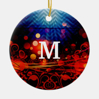 Personalized Monogram Funky Light Rays Abstract Round Ceramic Decoration