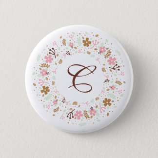 Personalized Monogram Girly Floral Wreath 6 Cm Round Badge