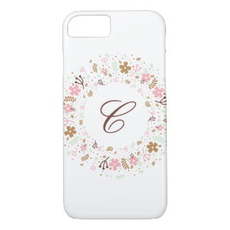 Personalized Monogram Girly Floral Wreath iPhone 7 Case